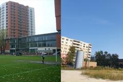 Štadión v čase existencie a dnešný pohľad z približne rovnakého miesta.
